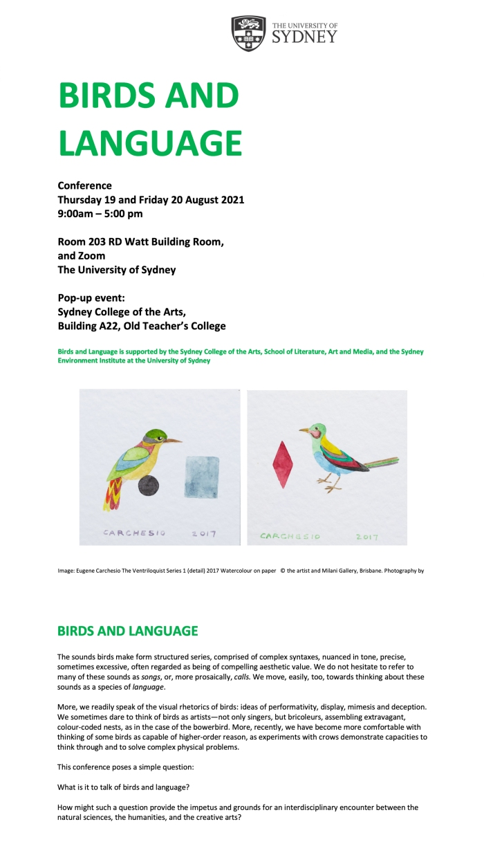 Alex Gawronski, birds-and-language, 2021